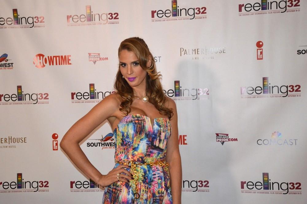 Reality TV star Carmen Carrera, from Season 3 of RuPaul's Drag Race on LogoTV, arrives on the red carpet.